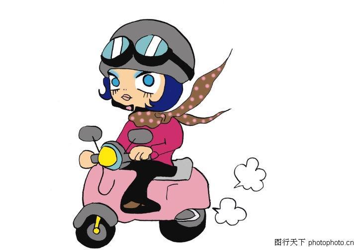 插画,骑摩托车