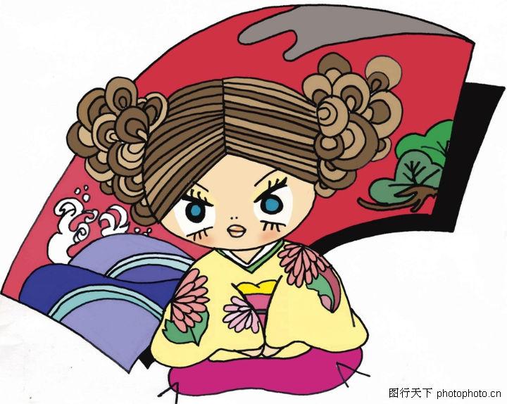 个性卡通,插画,小丫头 瞪眼,个性卡通0035