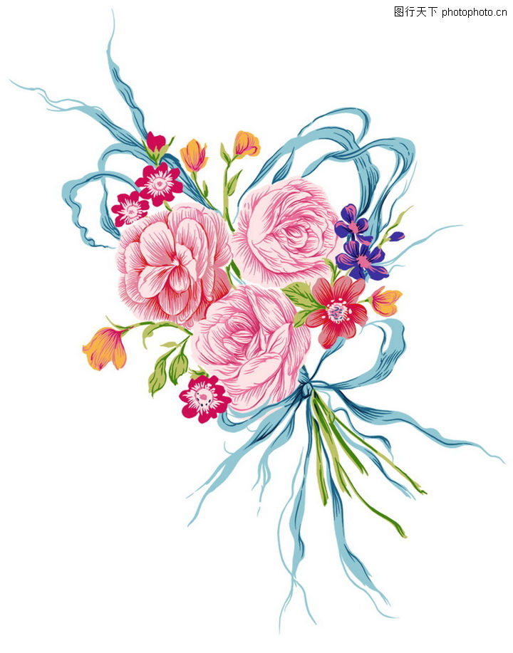 年青的心,精品花纹边框模板,一束花,年青的心0043