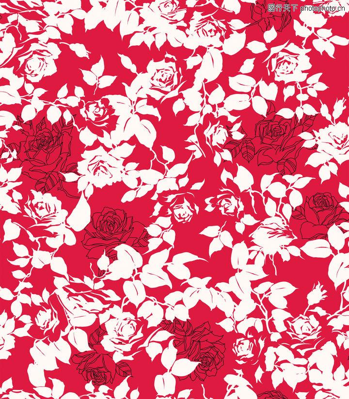 彩绘花纹,精品花纹边框模板,红底 白色 月季,彩绘花纹0020