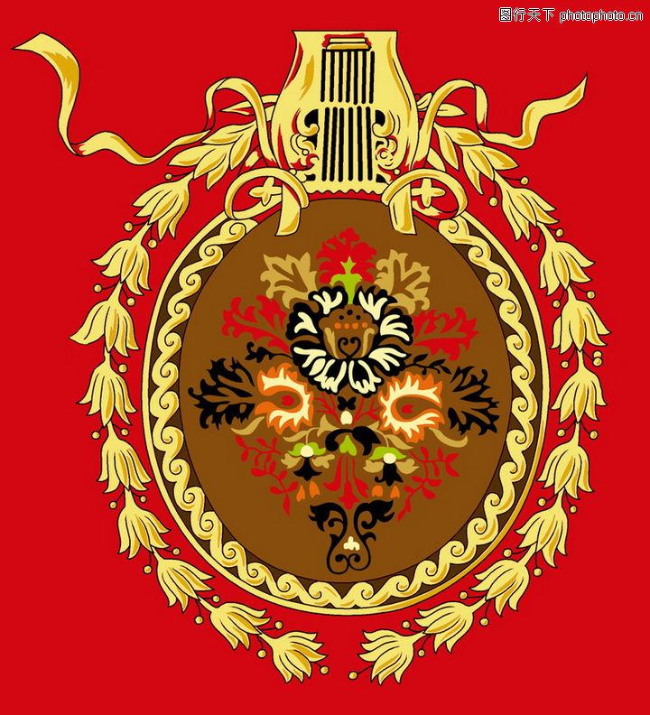 饰角素材,精品花纹边框模板,红色底色