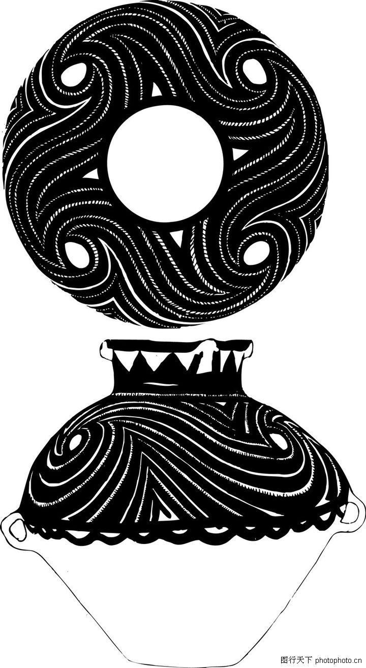 手绘原始陶器纹样