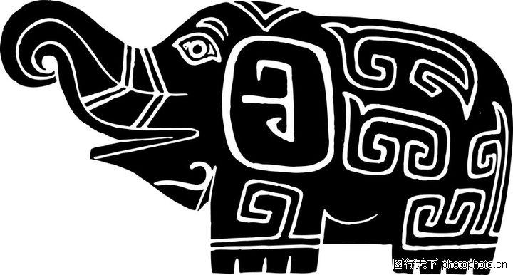 大象黑白简笔画