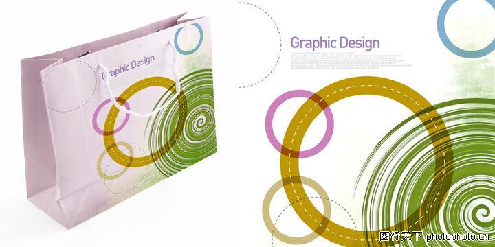 包装,东方设计元素,纸袋 大圆圈 旋转,包装0032