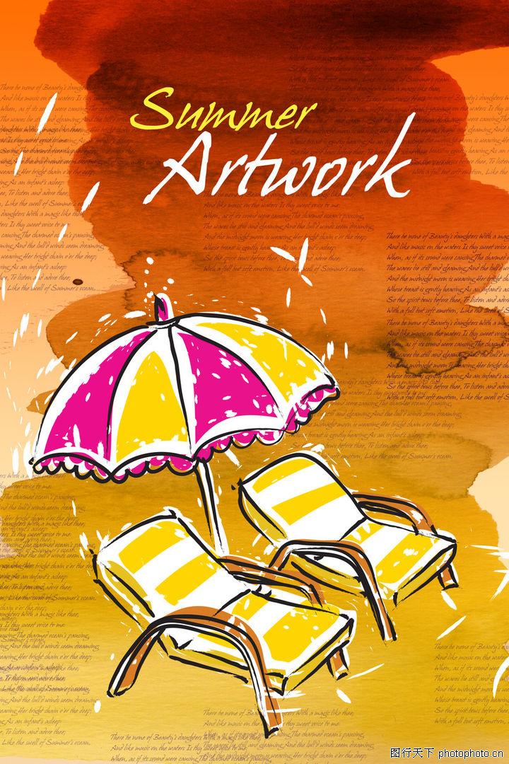 海报,东方设计元素,雨滴 阳伞 太阳椅,海报0170