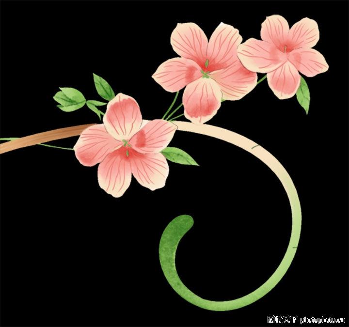 鲜花花纹背景psd分层素材;