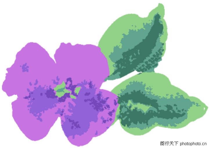 古典花卉底纹 中国古典画 水彩花 紫花瓣