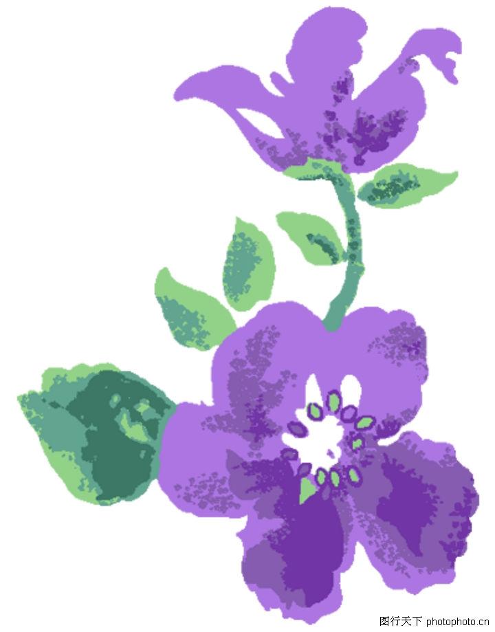 手绘水粉玫红欧式花卉图