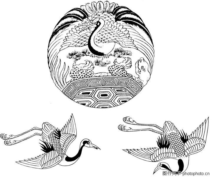 失量古典图案,中国古典画,飞鹤 圆形 孔雀,失量古典图案0070