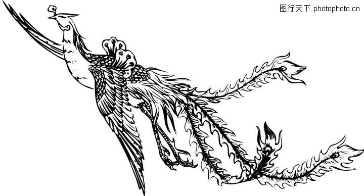 失量古典图案,中国古典画,淡墨 凤凰 展翅,失量古典图案0149
