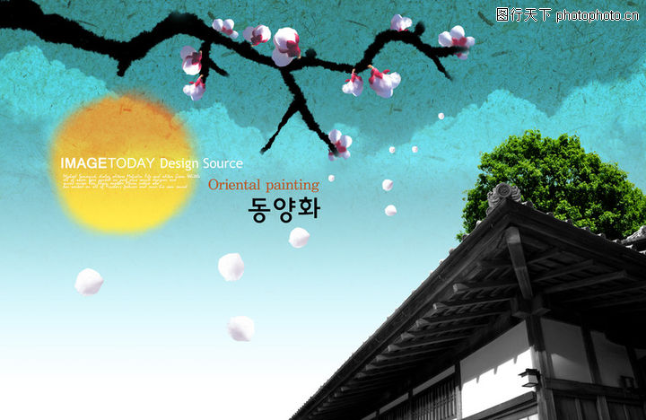 笔刷墨染古典图,韩国花纹Ⅲ