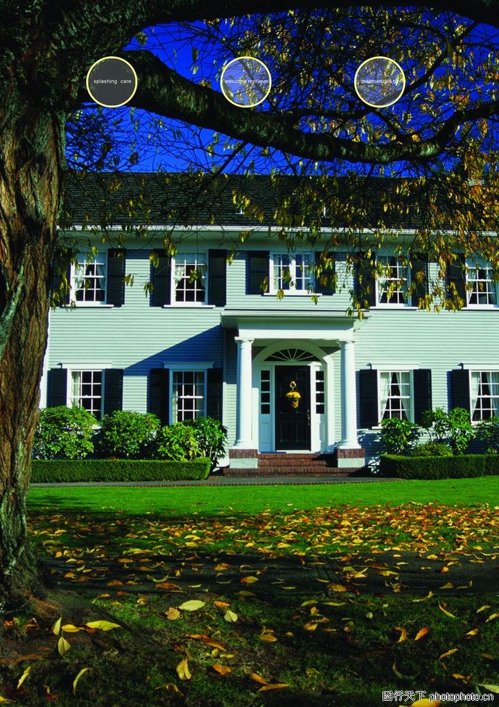 建筑风景,版式设计,草坪 落叶 吊篮,建筑风景0052