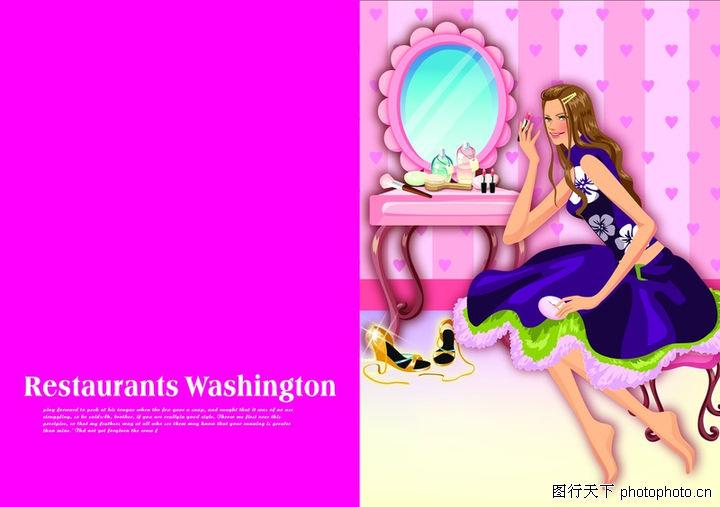 插画,版式设计,化妆台 连衣裙 镜子,插画0054