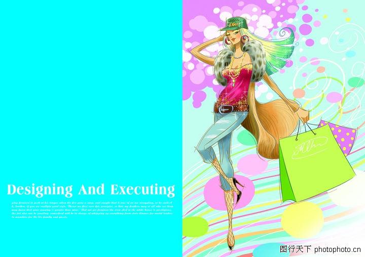 插画,版式设计,购物袋 丝袜 跳舞,插画0056