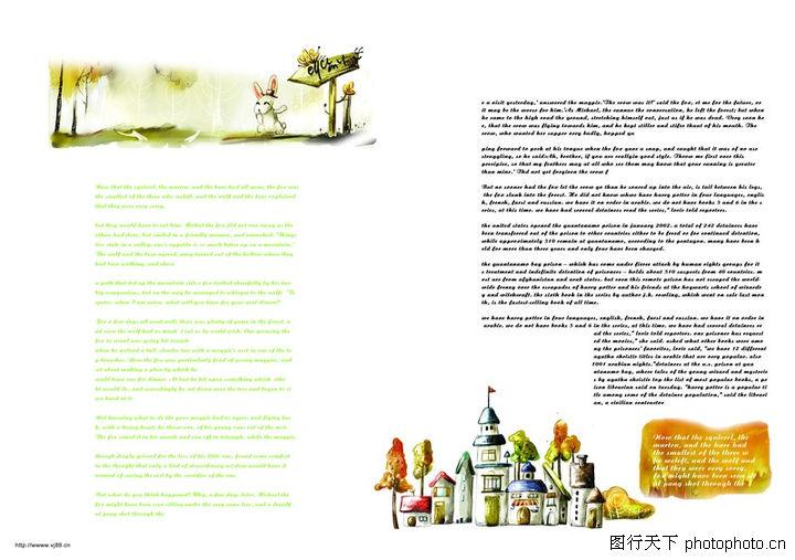 插画,版式设计,童话故事 城堡 野兔,插画0060