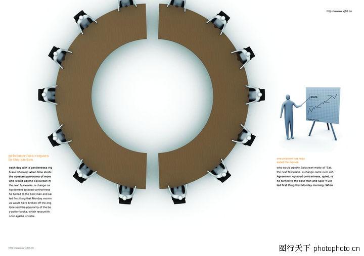 ... 0015-金融图-版式设计图库-俯瞰 圆形会议桌 指导工作