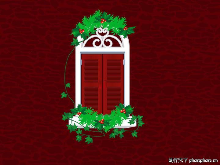 圣诞节,节日喜庆,窗户 绿色枝条 红色果子,圣诞节0036