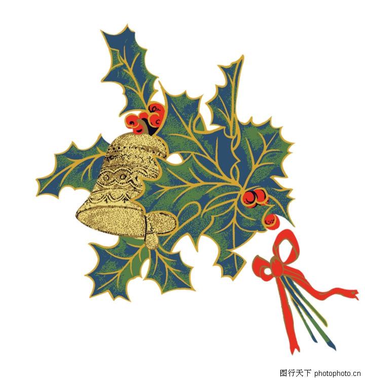 圣诞节,节日喜庆,圣诞元素 长青树叶 大铃铛,圣诞节0080