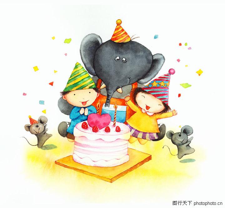 生日,节日喜庆,小老鼠 跳跃 欢喜,生日0003