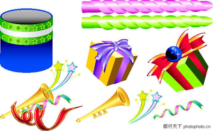 礼物 节日喜庆 彩色蜡烛 礼物 彩带