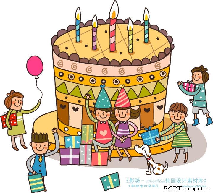 儿童学校,人物,斑点小狗 生日蛋糕 一群小朋友,儿童学校0033图片