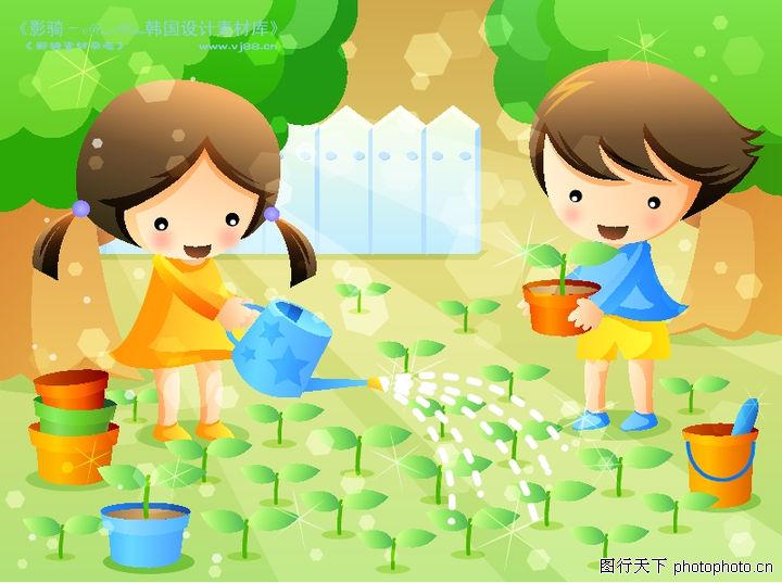 儿童生活,人物,浇水 养育