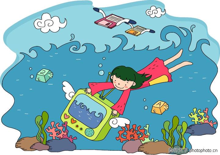 儿童科技,人物,海底世界