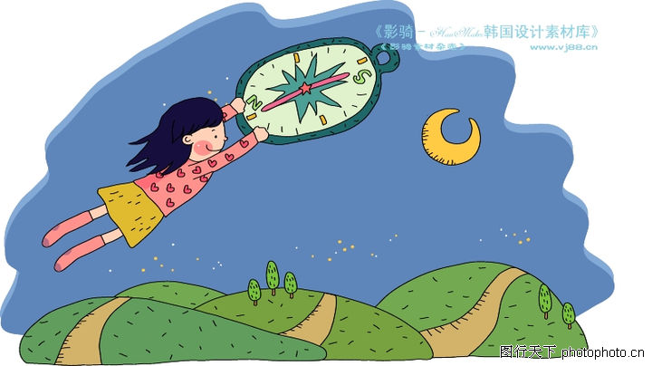儿童科技,人物,弯月亮 飞天小女孩 山间小路,儿童科技0031