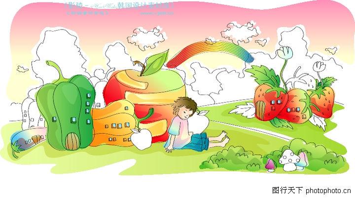 儿童线条插画 人物 蔬菜 水果 王国