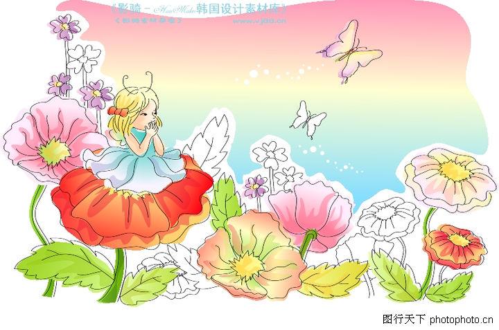 儿童线条插画,人物,花仙子