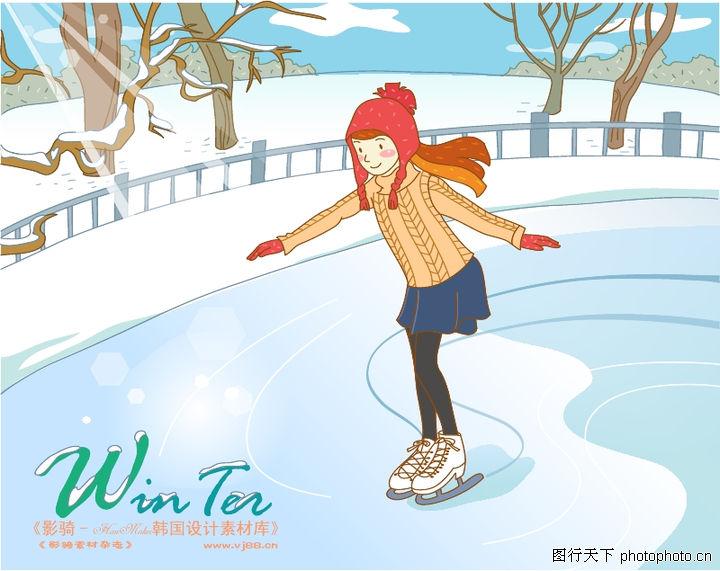 冬季小女孩,人物,滑雪