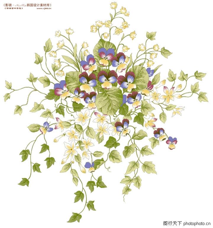 单朵艳丽配色花纹,人物,草叶 碎片 蓝花,单朵艳丽配色花纹0004