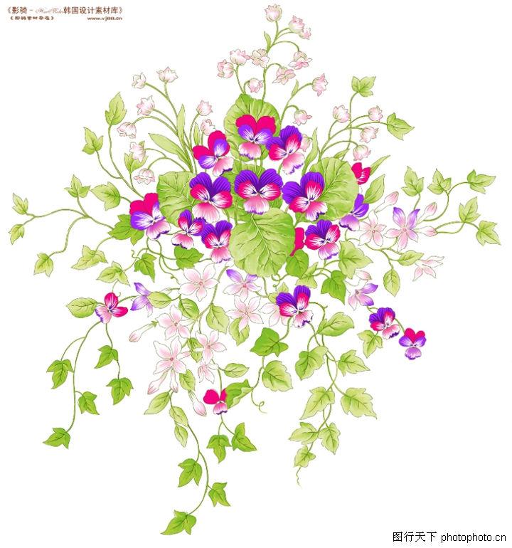 单朵艳丽配色花纹,人物,花枝 碎花 醒目花瓣 绿叶四散,单朵艳丽配色花纹0012