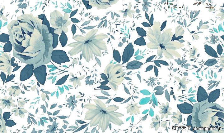 单朵艳丽配色花纹,人物,淡雅花式 蓝色花朵,单朵艳丽配色花纹0035