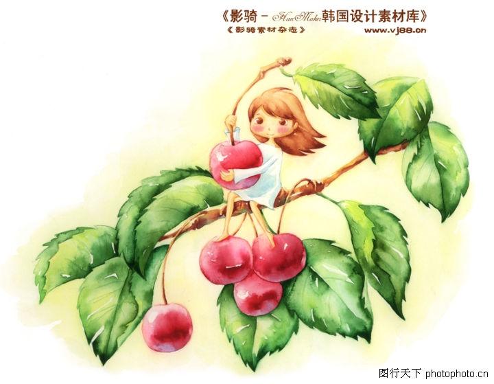 卡通儿童女孩与花,人物,水果 苹果 树枝,卡通儿童女孩与花0015