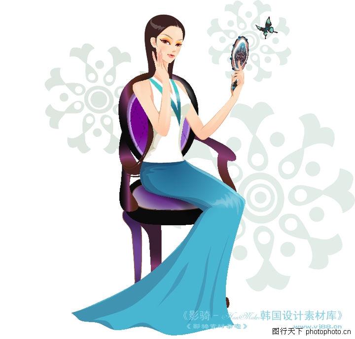 古典美女,人物,举镜 梳妆 打扮,古典美女0002