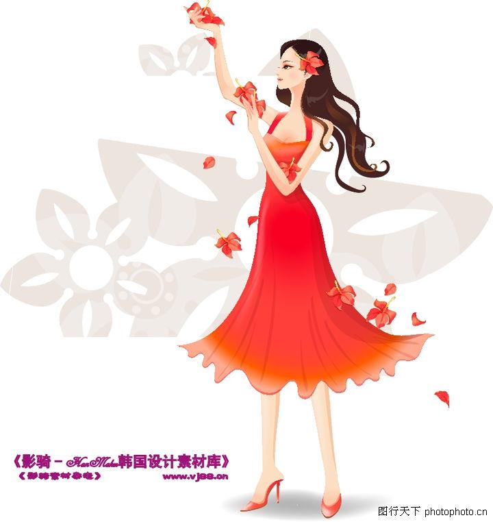 古典美女,人物,红色连衣裙 飘逸头发 高跟鞋 花瓣飞舞 细腿,古典美女0