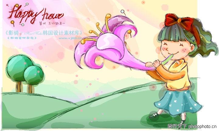 可爱儿童,人物,牵牛花 吹喇叭 蝴蝶结,可爱儿童0053