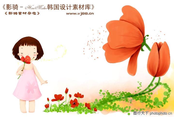 可爱小女孩,人物,红色野花 芬香 樱桃小丸子,可爱小女孩0033
