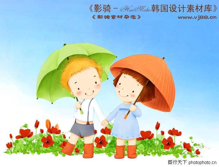 可爱小女孩,人物,打伞
