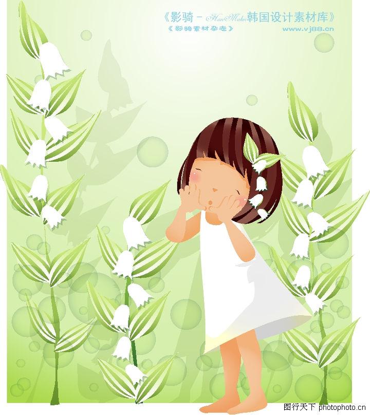 可爱小女孩 人物 连衣裙 高粱 白铃铛