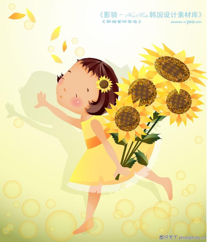 可爱小女孩 人物 女孩子 向日葵 奔跑