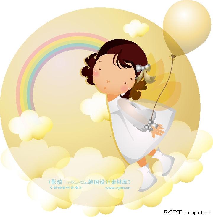 可爱小女孩,人物,云朵 彩虹 梦幻,可爱小女孩0203