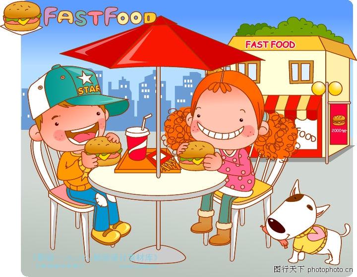 可爱胖女孩,人物,汉堡 薯条 可乐,可爱胖女孩0032