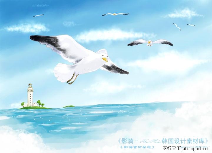 四季风景及儿童 人物 一群海鸥 蓝蓝的海面 小岛