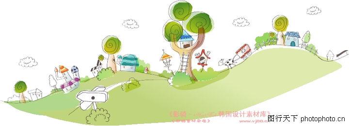 人物风景简笔画; 景图-人物图库-山坡; 城市风景,人物,山坡 大树 房子