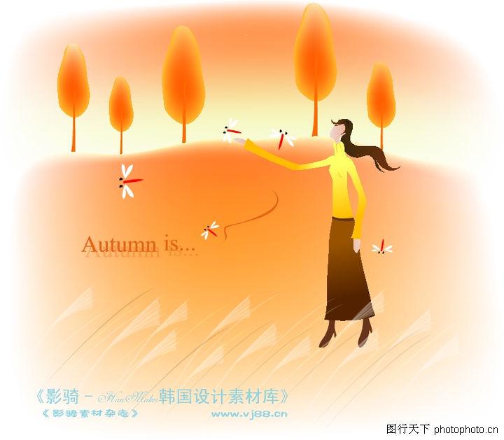 天使插画 人物 红蜻蜓 风中女孩 金黄色调