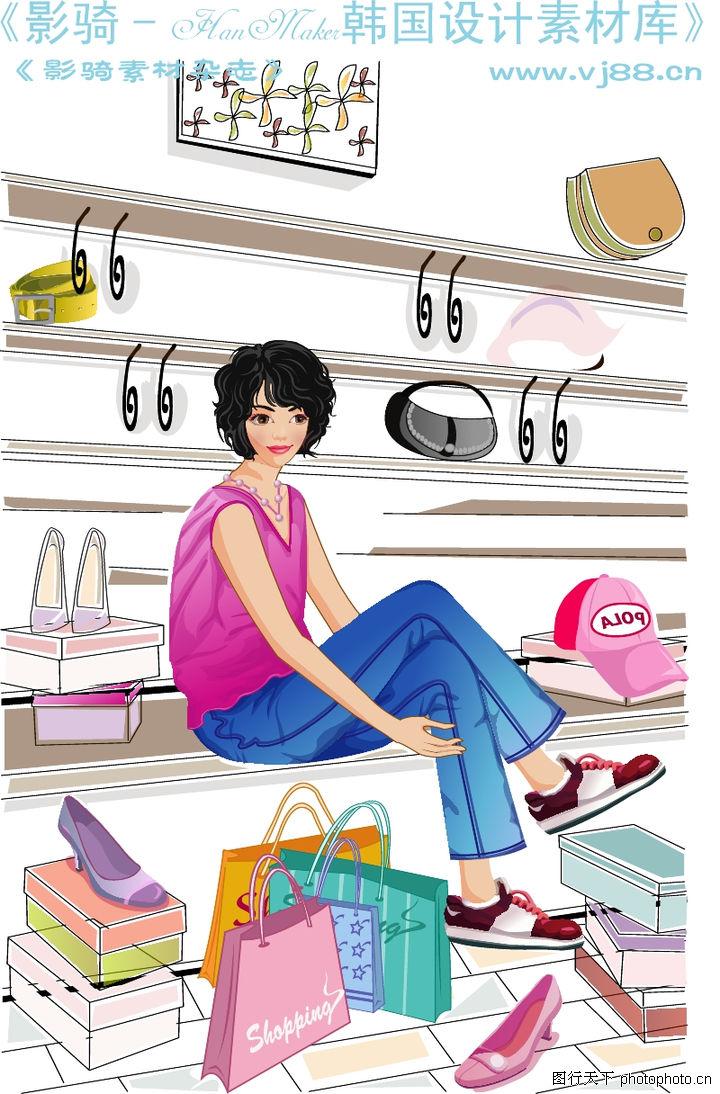 女性服饰购物,人物,皮鞋