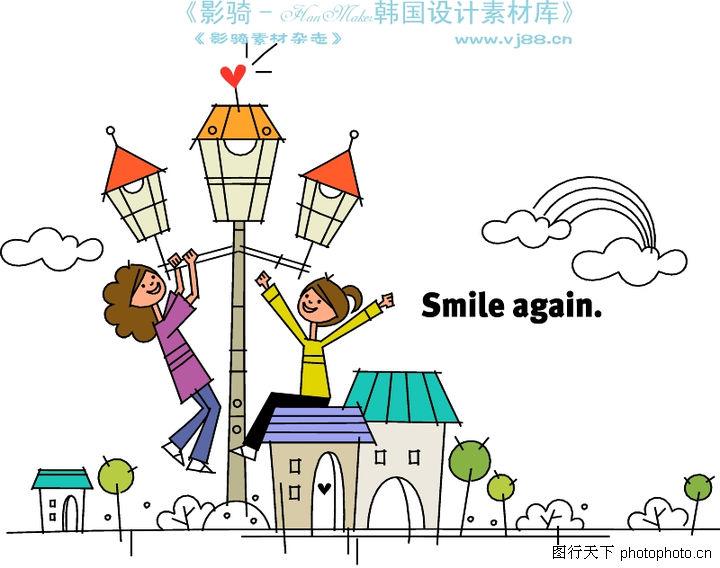房子简笔画_家具; 时尚简笔插画0158;