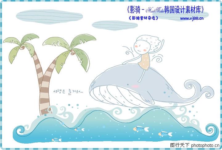 简单生活插画,人物,鲨鱼 海面 漫画,简单生活插画0100